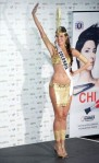 Miss Colombia Natalia Navarro poses in her national costume at the Mandalay Bay Resort and Casino in Las Vegas