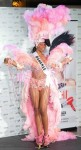 Miss Bahamas Braneka Bassett poses in her national costume at the Mandalay Bay Resort and Casino in Las Vegas