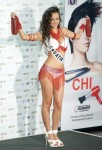 Miss Croatia Lana Obad poses in her national costume at the Mandalay Bay Resort and Casino in Las Vegas
