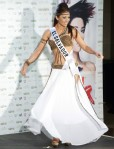 Miss El Salvador Sonia Cruz poses in her national costume at the Mandalay Bay Resort and Casino in Las Vegas