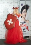 Miss Switzerland Linda Faeh poses in her national costume at the Mandalay Bay Resort and Casino in Las Vegas