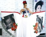 Miss Haiti Sarodj Bertin poses in her national costume at the Mandalay Bay Resort and Casino in Las Vegas