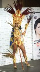 Miss Nicaragua Scharllette Allen Moses poses in her national costume at the Mandalay Bay Resort and Casino in Las Vegas