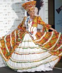 Miss British Virgin Islands Josefina Nunez poses in her national costume at the Mandalay Bay Resort and Casino in Las Vegas