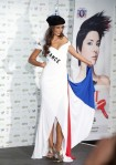 Miss France Malika Menard poses in her national costume at the Mandalay Bay Resort and Casino in Las Vegas