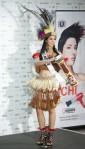 Miss Indonesia Qory Sandioriva poses in her national costume at the Mandalay Bay Resort and Casino in Las Vegas