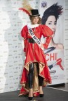 Miss Great Britain Tara Vaitiere Hoyos poses in her national costume at the Mandalay Bay Resort and Casino in Las Vegas