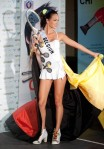 Miss Belgium Cilou Annys poses in her national costume at the Mandalay Bay Resort and Casino in Las Vegas