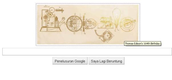 Logo Google Hari Ini - Thomas Edison's 164th Birthday
