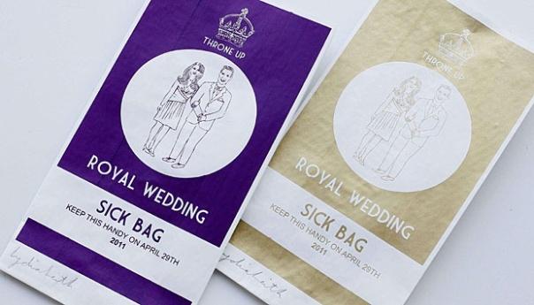 Souvenir Pernikahan Kerajaan bagi mereka yang kurang yang antusias pada pernikahan Pangeran William dan Kate Middleton – kantong muntah untuk orang sakit. Kantong yang mirip dengan yang biasa digunakan pada perusahaan penerbangan ini dihiasi dengan mahkota dan gambar dari pasangan kerajaan dijual seharga tiga pound (US $ 4,83; euro 3,58). Souvenir ini karya, ilustrator Lydia Leith , dijual melalui website-nya.